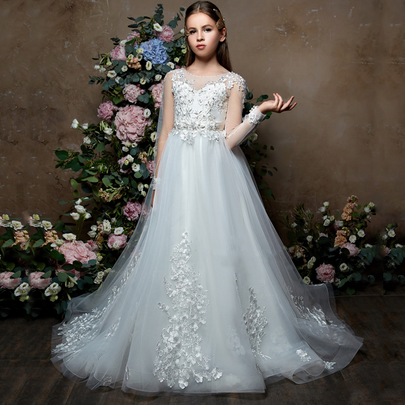 New Flower Girls Dresses Long Sleeves Lace Appliques Sheer Ball Gowns for Wedding Little Sweet Girls