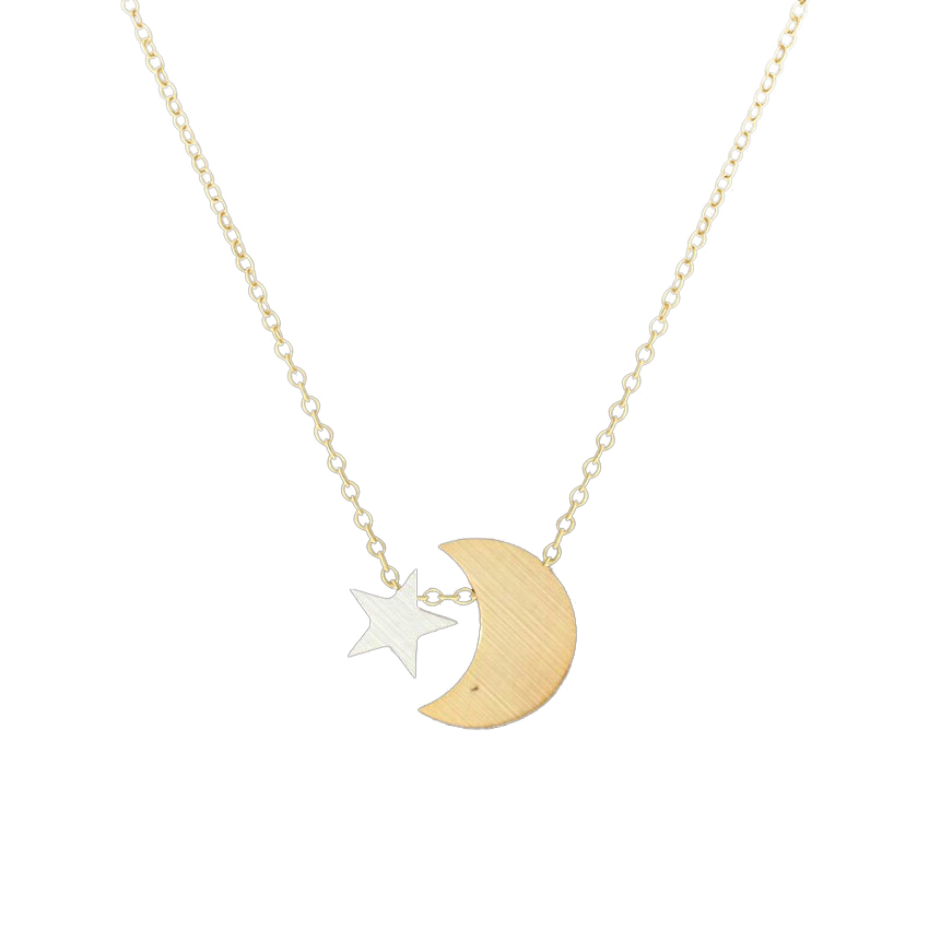 Delicate Crescent Moon Tiny Star Pendant Necklace Women Choker Stainless Steel Chain Layered Necklace Best Friend Boho Jewelry