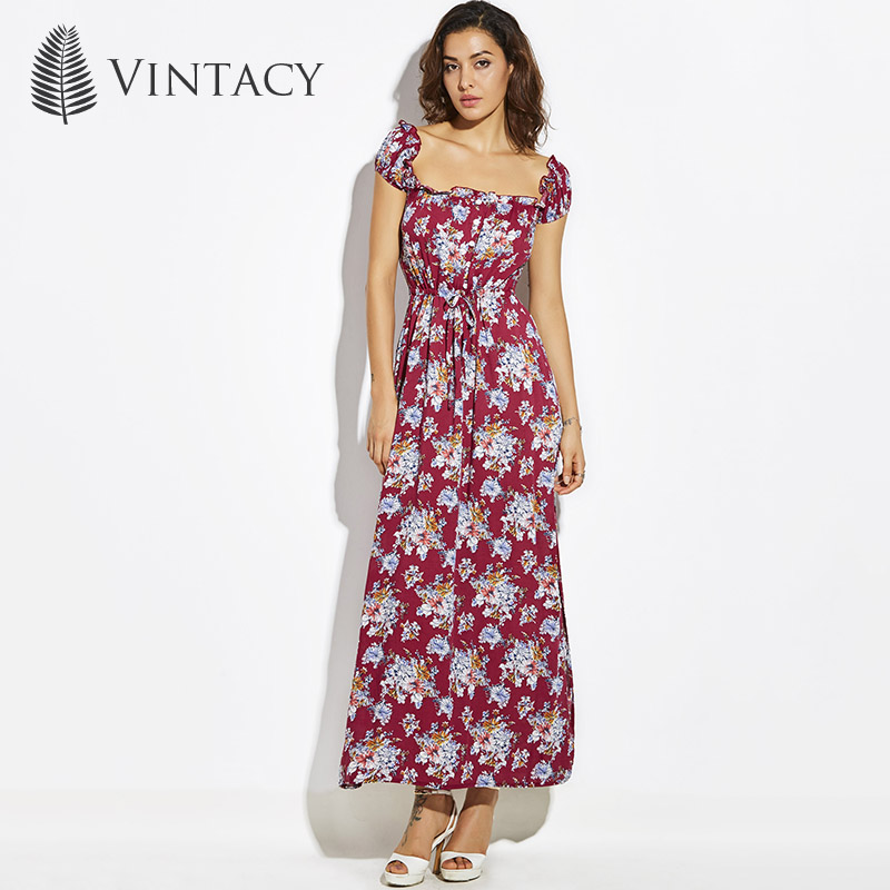 Vintacy summer women long maxi dress Print a line Plus Size beach vacation dresses loose casual spring party female long dress
