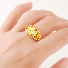 Genuine 24K Pure Gold Wedding Finger Ring Luxury Classic Vintage For Women Wedding jewellery SIZE 7,8,9,10(China)