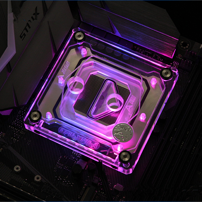 For Intel LGA 115x Computer CPU water cooling Block RGB LED copper radiator 0.5mm waterway free shipping 53 53 14mm pure copper water cooling block for intel cpu buckle computer copper cpu water block