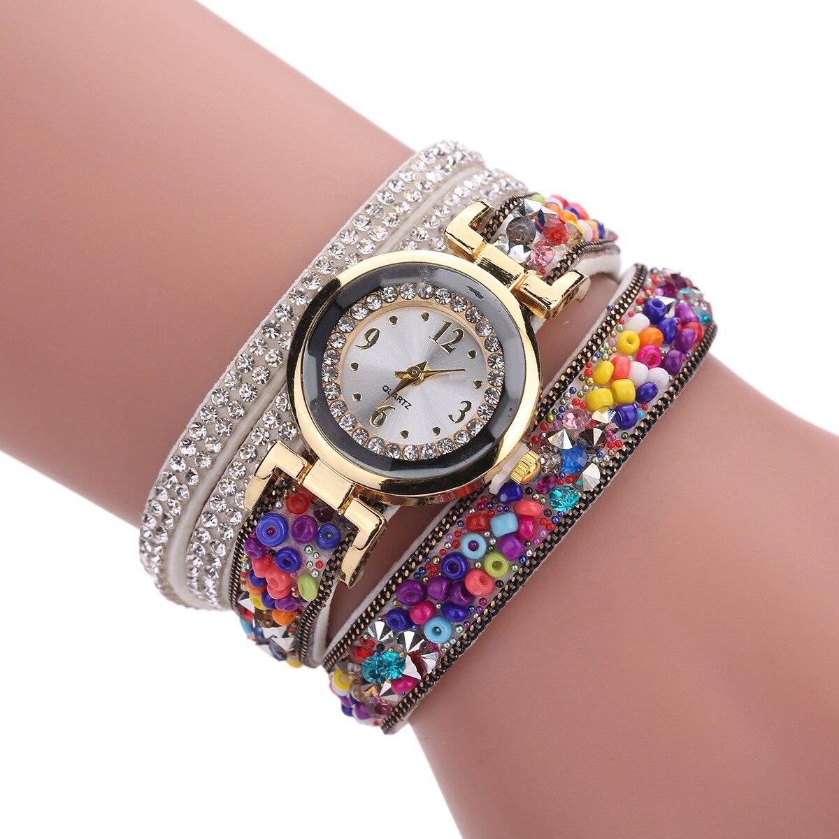 Fashion Luxury Leather Watch Kvinnor Classic Crystal Decor Armband - Damklockor - Foto 3