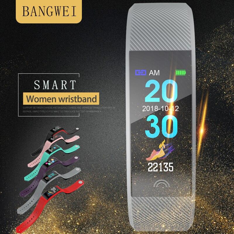 BANGWEI montre connectée moniteur de fréquence cardiaque IP67Waterproof traqueur de remise en forme pour Android IOS montres de sport