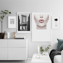 HAOCHU Nordic Background Canvas Decorative Painting Modern Fashion Sexy Beauty Lips Text Ancient Building Personality Home Decor