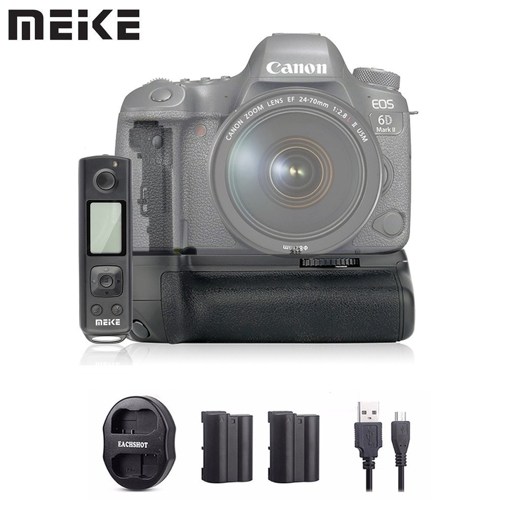 Meike MK-6D2 Pro Battery Grip+2*Battery+Dual Charger Built-in 2.4G Remote Control for Canon 6D Mark II As BG-E21 meike mk 760d pro built in 2 4g wireless control battery grip suit for canon 750d 760d as bg e18