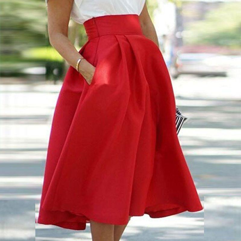 Europeo y Americano Faldas Plisadas 2016 Mujeres Rojas Atractivas de la  Falda de Cintura Alta Falda Larga Elegante Con Pocketss Maxi Falda 90 CM en  Faldas ... 943bfc7d7a83