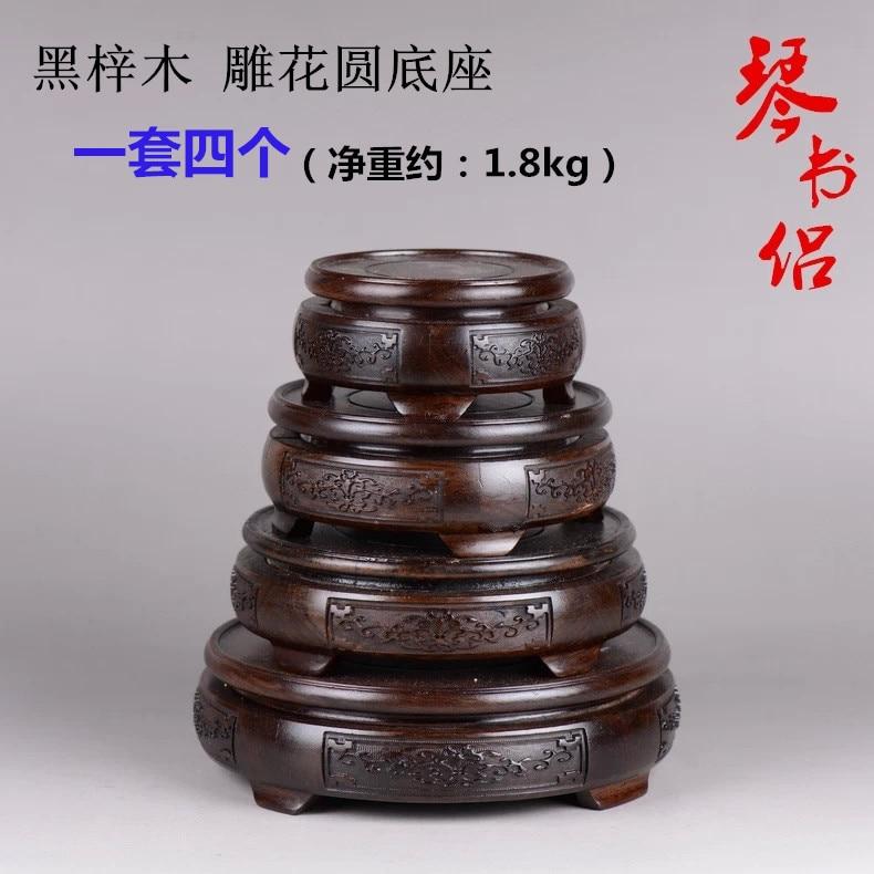 Black Azusa mahogany wood carvings carved circular base woodBlack Azusa mahogany wood carvings carved circular base wood