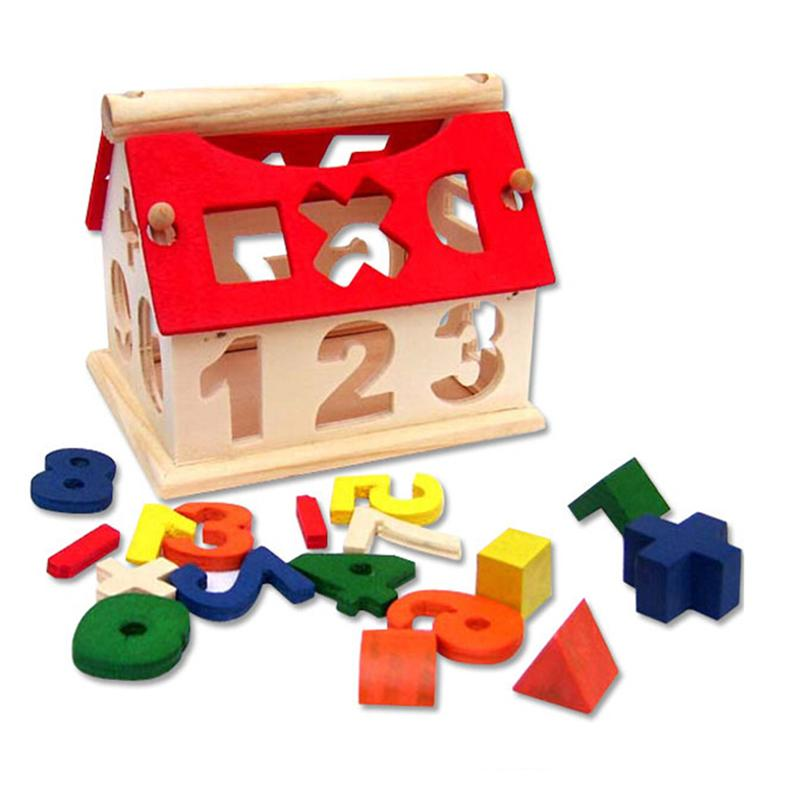 Numbers Arithmetic Sign Houselet Building Blocks DIY Wooden Educational Indoor Funny Toys Interesting Games for Kids Children