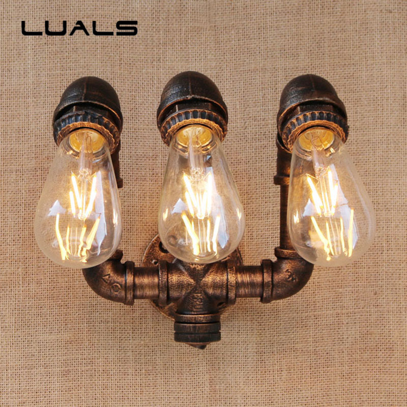 Loft Pipe Lamp Simple Retro Wall Light Cafe Bar Industrial Style Edison Wall lights Creative Water Pipes Art Indoor Lighting loft style wall lamp nordic retro wall light personality glass bottles wall lights cafe bar industrial style art deco lighting