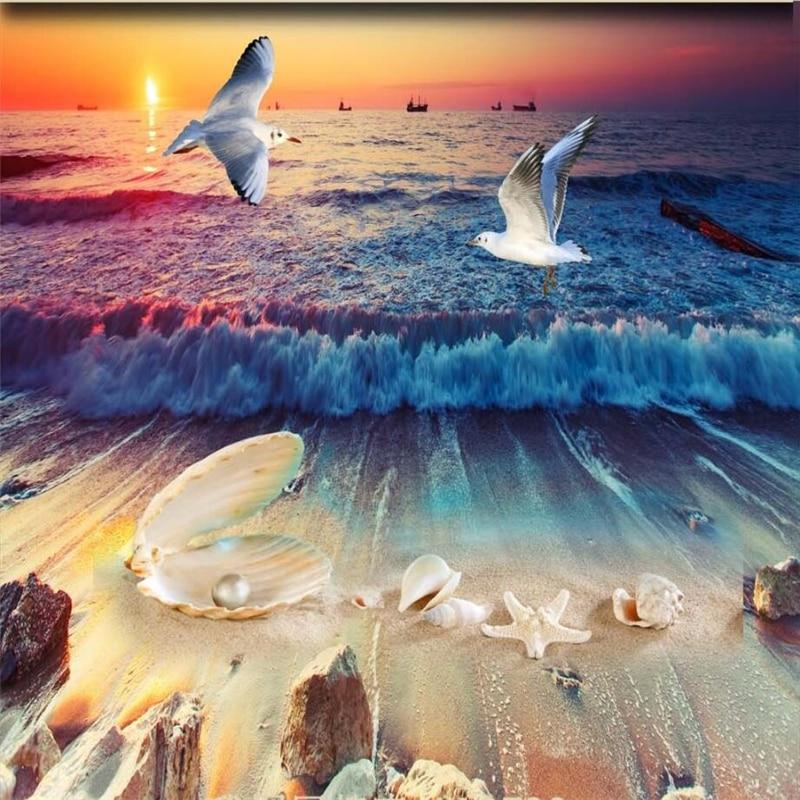 Beibehang Custom Wallpaper 3d Floor Wall Painting Wall Beautiful Aesthetic Beach Shell Pearl Conch 3d Floor Papel De Parede Papel De Parede De Paredecustom Wallpaper Aliexpress