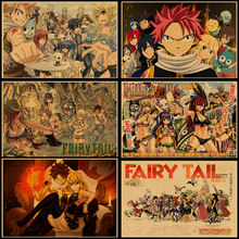 Wall Sticker Vintage Anime Fairy Tail Poster Bar Kids Room Home Decor Cartoon Comics Retro Kraft Paper Wall Decals No frame(China)