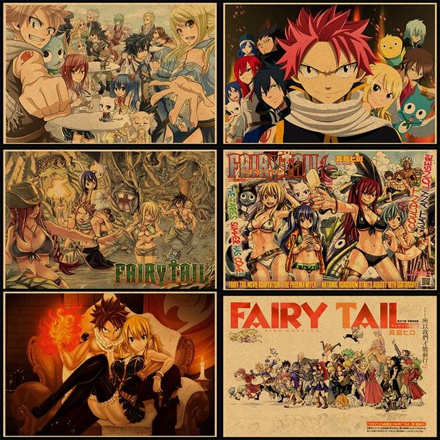 Wall Sticker Vintage Anime Fairy Tail Poster Bar Kids Room Home Decor Cartoon Comics Retro Kraft Paper Wall Decals No frame