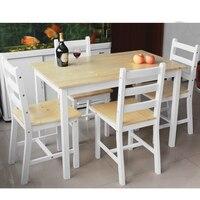 Ahşap Yemek Seti Ile Bir Tablo 4 adet/grup Yemek Sandalye Beyaz Doğal Çam SıCAK SATıŞ