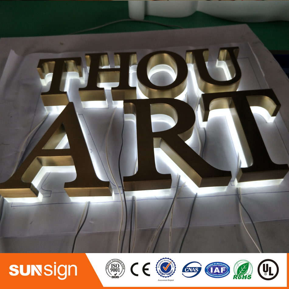 Factory Outlet Outdoor Backlit Stainless Steel LED 3d Letter Sign Logo