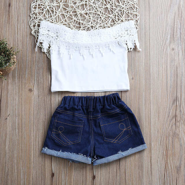 584e8ccbaf26 High Quality Fashion Baby Girl Clothes Set 2Pcs Lace Short Sleeve Tops Vest  Denim Shorts Pants