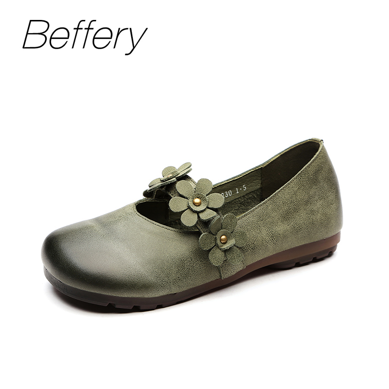 Beffery Spring Summer style Genuine Leather Flat Shoes Women Ultra-soft Casual Shoes For Women Retro Flowers Ballet flats A1831 beffery 2018 spring patent leather shoes women flats round toe casual shoes vintage british style flats platform shoes for women