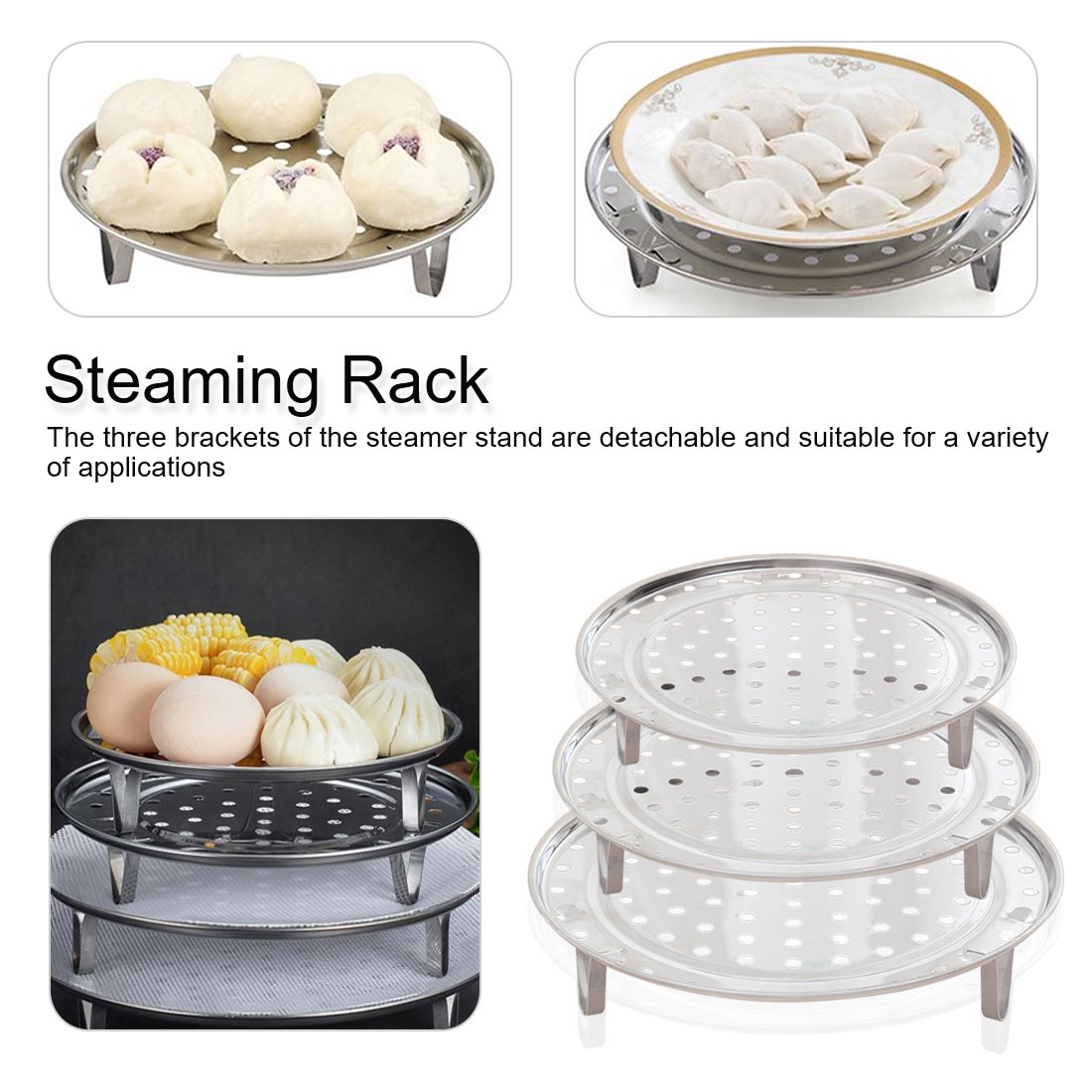 Stainless Steel Steamer Kitchen Cookware Steamer Rack Insert Stock Cooking Steaming Stand Kitchen Heating Supplies