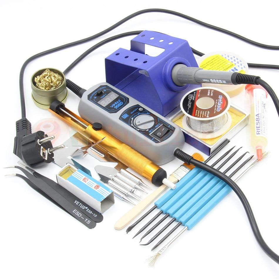YIHUA 908D Adjustable thermostat Electric soldering iron set Welding repair tools kit set tweezers solder Iron tip