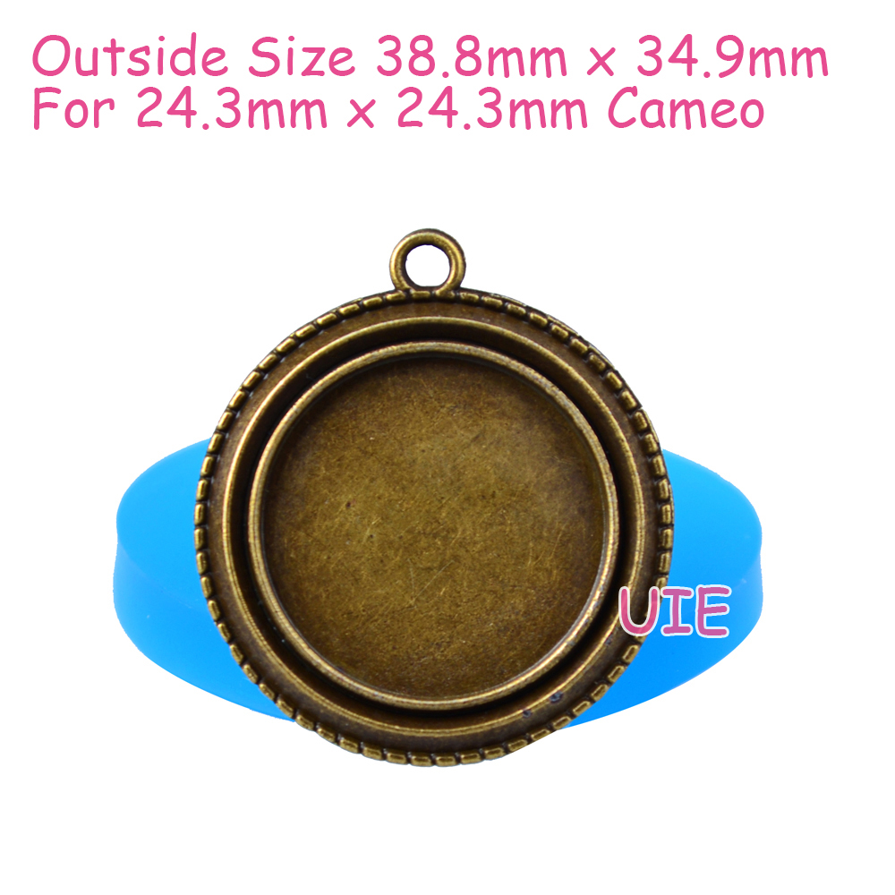Oyl130u 38 8mm Ornate Round Frame Pendant Silicone Mold Picture