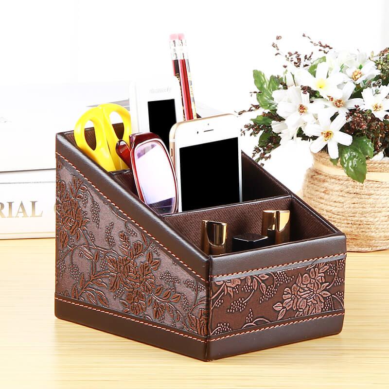 3 Zellen Leder Cosmetic Organizer Makeup Aufbewahrungsbox Fernbedienung Halter Desktop Schreibwaren Box Startseite Organizer