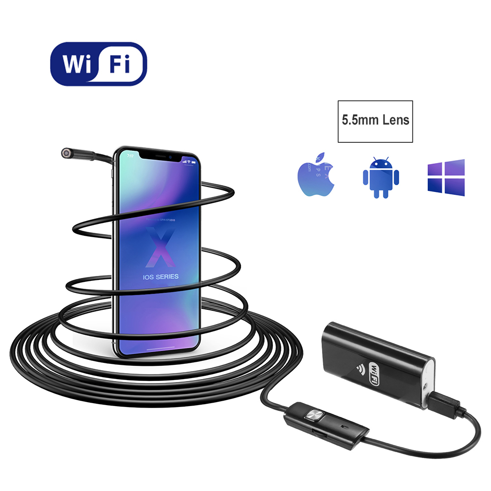Buy 1/2/3.5/5m 8mm lens IP67 Waterproof Snake WIFI Endoscope Borescope Inspection Micro USB Camera Mini Camera For Android IOS for only 25 USD