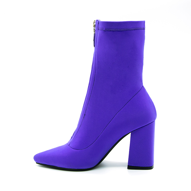 2018 Spring/Autumn New Female Sexy Square heel Sock Booties Stretch Fabric Pointed Toe High Heels Lycra Ankle Boots Women Pumps