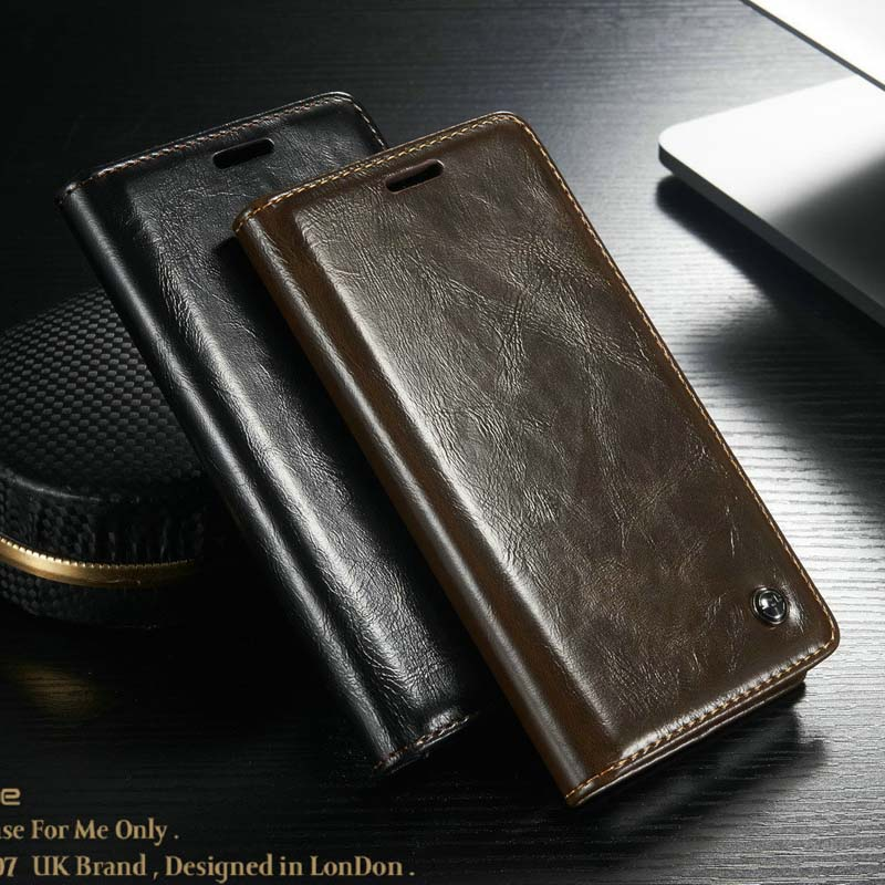 For Galaxy J Case Luxury Business Style Magnet Genuine Leather Wallet Phone