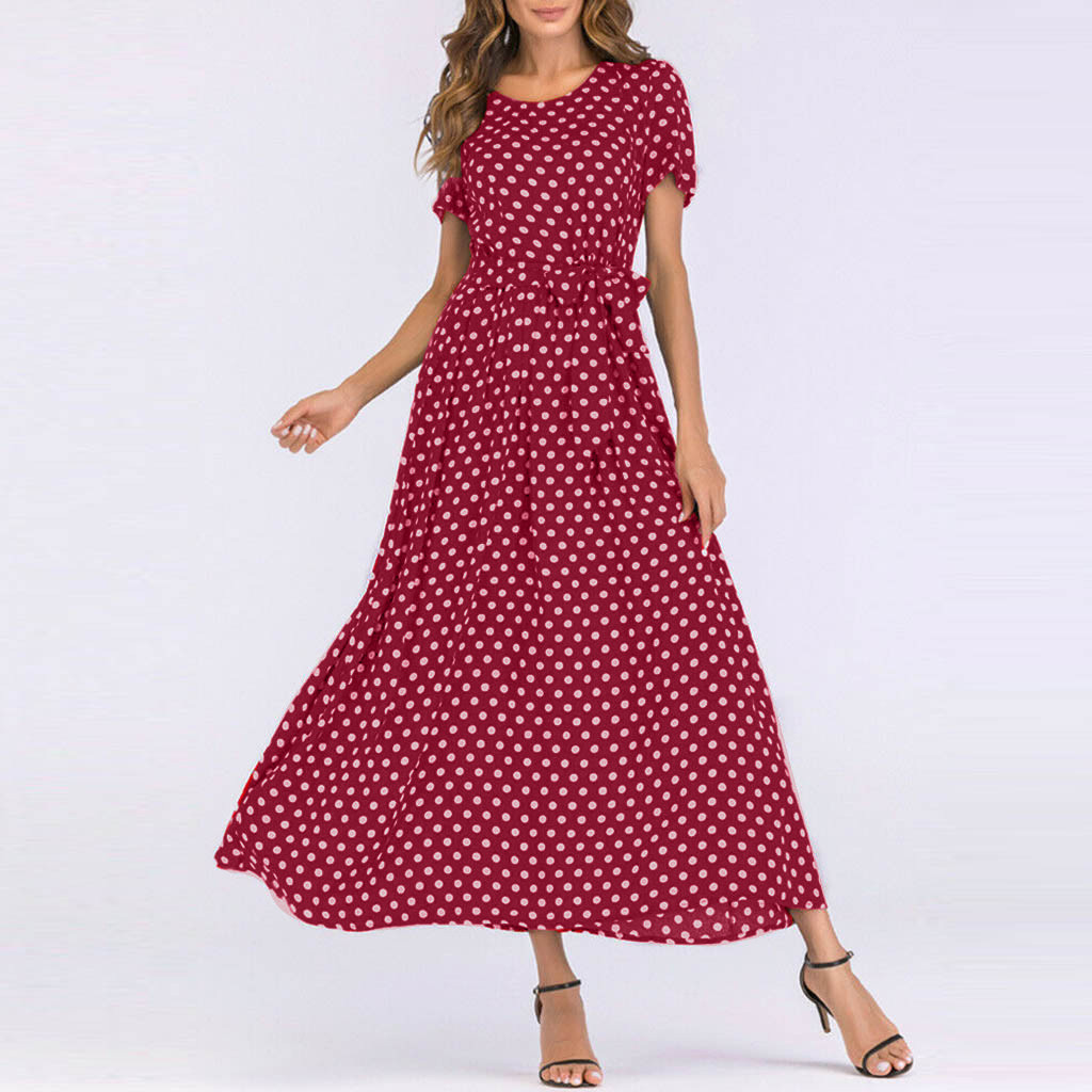 HTB133OTaEuF3KVjSZK9q6zVtXXao - Summer Dress Women O-Neck Short Sleeve Boho Polka Dot Bandage Maxi Long Dress Women Beach Sundress Plus Size Vestidos