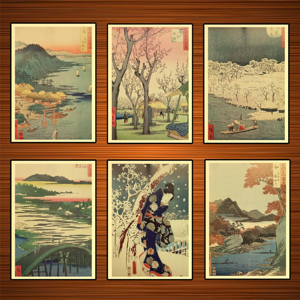 Vintage Japanese Ukiyoe Art Hiroshige Paintings Kraft Posters Classic Canvas Paintings Wall Stickers Home Decor Gift