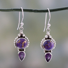 Women Vintage Water Droplets Purple Crystal Dragon Earrings Female Fashion Stone Drop Ear Jewelry