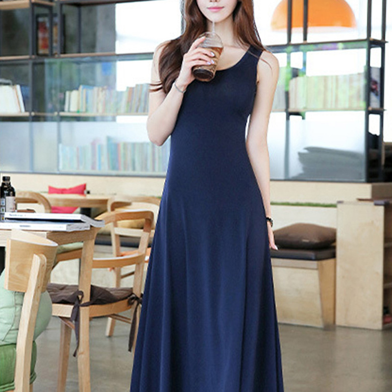 Summer Dresses Ladies Long A-line Dress High Waist Sleeveless Casual O-neck Tank Dress Plus Size XXL KH812028