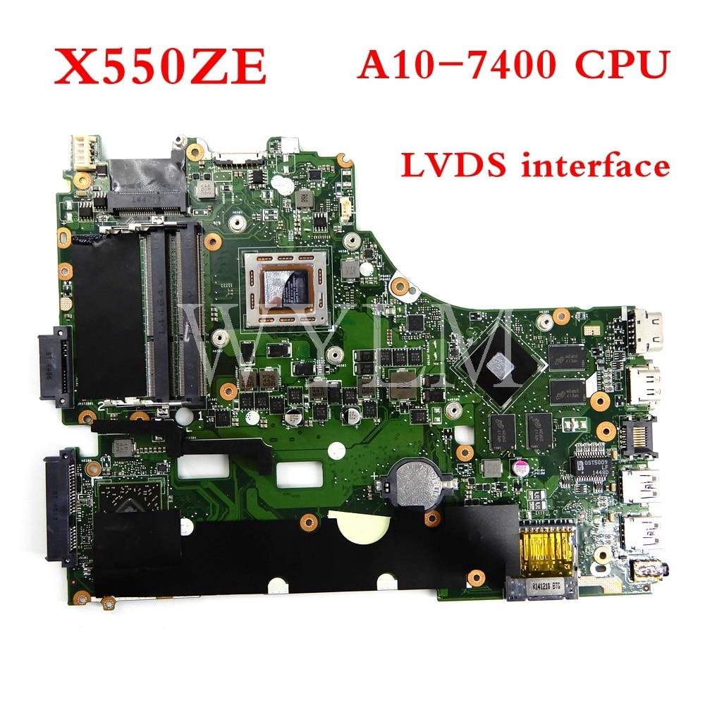 X550ZE motherboard mainboard Para ASUS A10-7400CPU X550Z X550ZE X550 X550ZA K550Z A555Z VM590Z Laptop motherboard Testado Trabalho