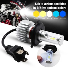1X Motorcycle Headlight H4 LED Bulb 25W CSP Y19 Chip DIY Changing Color 3000K 4300K 8000K 10000K Moto Front Headlamp