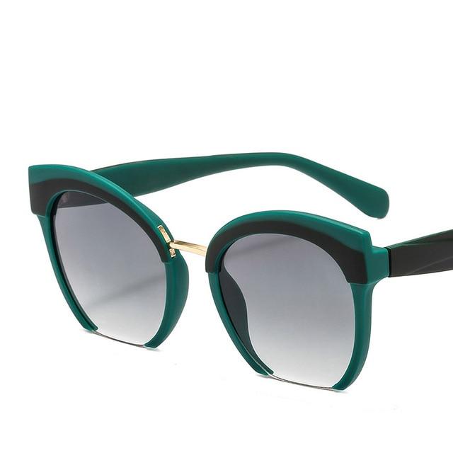 fd7071e740f7b Trendy Colored Half Frame Cat Eye Sunglasses Women Brand High Quality  Eyeglasses Street Beat Shopping Oculos De Sol Gafas UV400