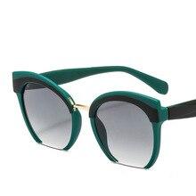 Trendy Colored Half Frame Cat Eye Sunglasses