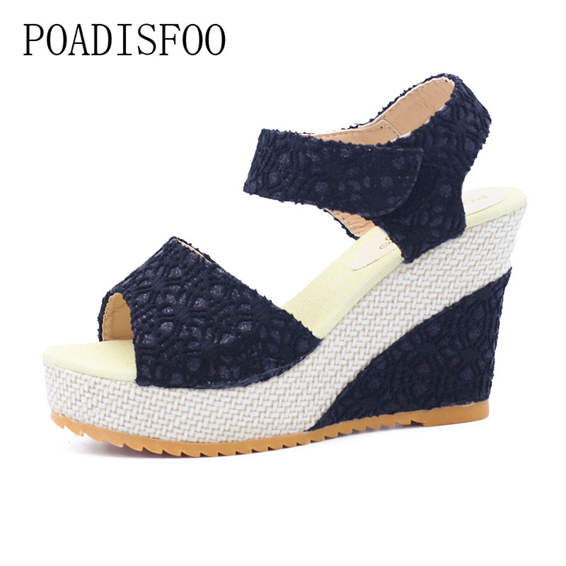 POADISFOO 2017 summer new sexy mesh fish mouth shoes slope with women's sandals .HYKL-3376 poadisfoo 2017 new ethnic women s shoes bohemian diamond slope with a large summer sandals zapatos mujer jxf 6662b