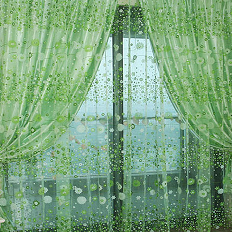 Chic Room Floral Pattern Voile Window Sheer Voile Panel Drapes Curtains For Living Room Kitchen Blackout Tulle Curtains