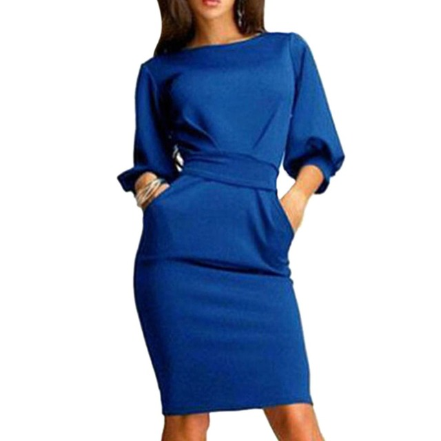 New 2018 Women Work Dress Half Sleeve O-Neck Elegant Ladies Autumn Summer Bodycon Bandage Slim Sashes Dresses Vestidos 2