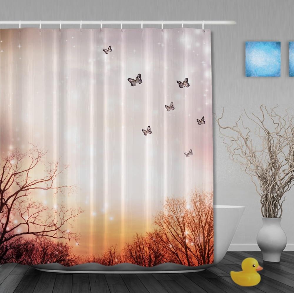 Spring Sunset Butterflies Shower Curtains High Quality