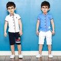 [Bosudhsou] Горячие продажа Новые Лето мальчик Комплект Одежды Дети Рубашка брюки Мальчиков Одежда Дети Случайно Костюм блузка Bos. М-1