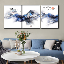 Laeacco Canvas Chinese Style Painting Calligraphy Watercolor Posters and Prints Landscape Wall Art Picture For Living Room Decor