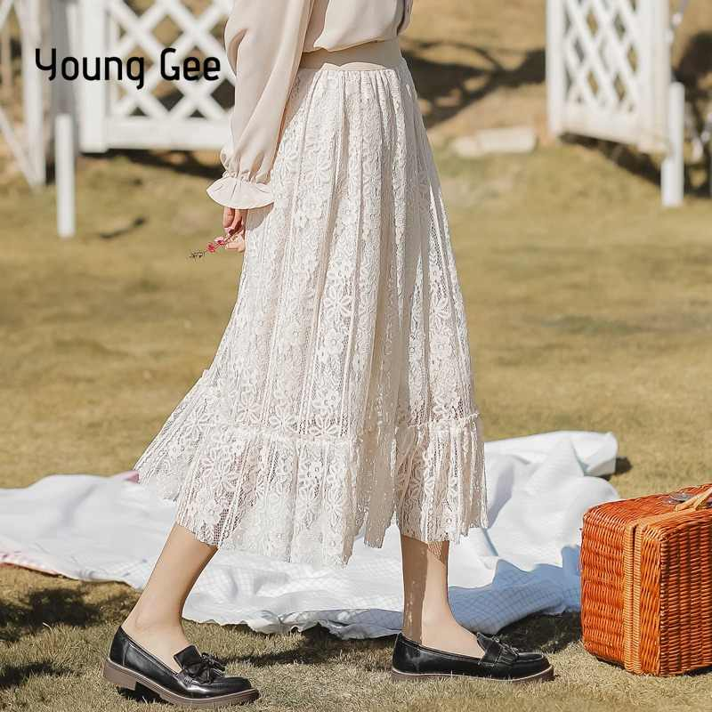 fceba9a340eeef Young Gee Fashion Women Girl Double Layer Lace Flower Pleated Saia Midi  Skirt High Elastic Waist
