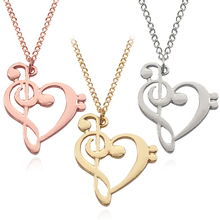Fashion Music Love Heart Charm Pendant Best Friends Forever BFF Necklaces For Women Men Friendship Colar