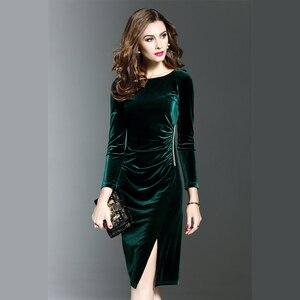Image 3 - 여자 그린 벨벳 드레스 플러스 사이즈 우아한 가을 겨울 슬리밍 패션 캐주얼 드레스 파티 드레스 vestidos femininos