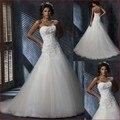 Vestido Де Noiva Горячая Продажа 2016 Новый Дизайн Аппликация & Тюль Свадебное платье Line Белый/Слоновая Кость Свадебное Платье
