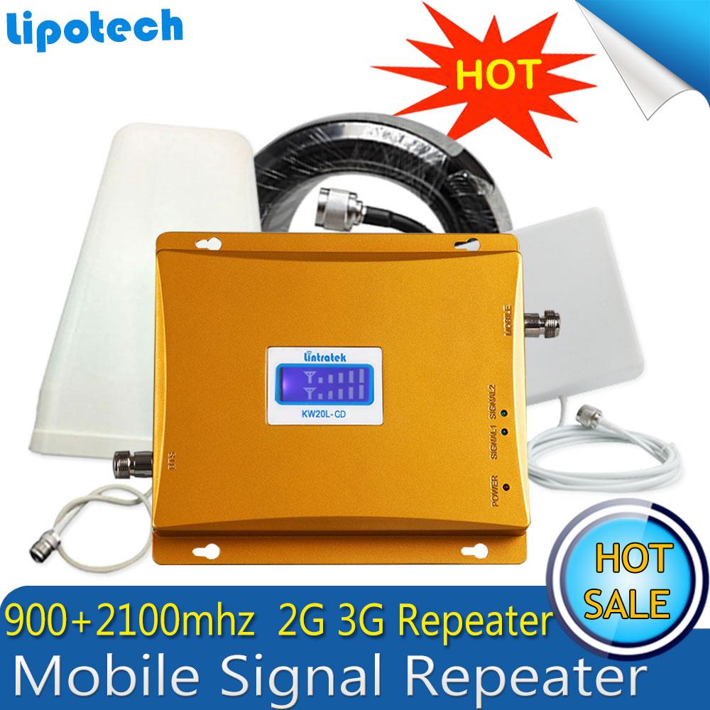 Lintratek GSM 900 2100 Cellulaire Signal Booster GSM 900 mhz 3G UMTS 2100 mhz Amplificateur de Signal 3G Double bande Extender Repeater Set