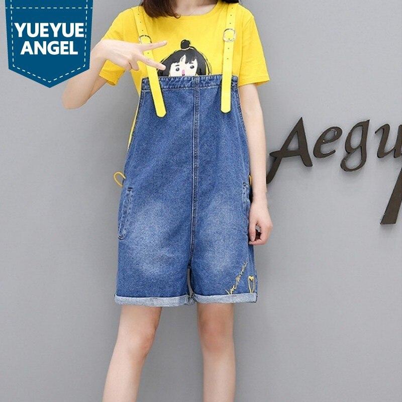 2019 grande taille été douce fille motif T-Shirt Denim salopette femmes large jambe courte pantalons décontracté barboteuses femmes combinaison 2 pièce