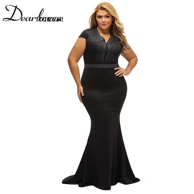 placeholder Dear lover Women Plus Size Spandex Dress Black Rhinestone Front  Bodice Scalloped Neckline Short Sleeve Maxi e34c4278b201