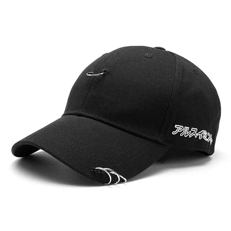 Men Women Hat Ring Hip Hop Curved Strapback Baseball Snapback Cap High Quality Unisex Adjustable Black White Hats hot sale adjustable men women peaked hat hiphop adjustable strapback baseball cap black white pink one size 3 colors dm 6