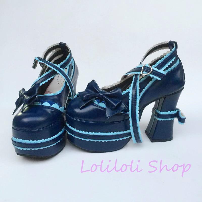 Lolita Azul Correa Botas Tamaño Zapatos Hebilla Brillante An1124 Dulce Princesa Encaje Multiple Yoyo Ultrama Piel Gran Loliloli Bien De La RE16xq